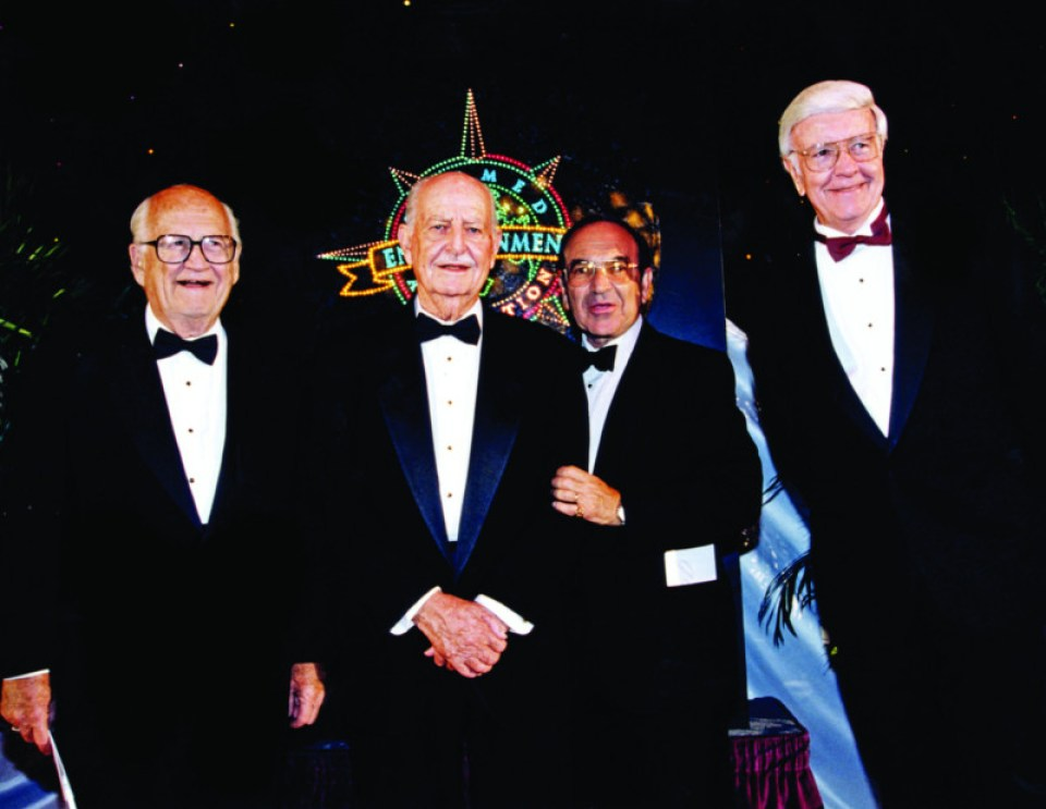 "Four Disney Legend recipients of the TEA Lifetime Achievement Award (L to R): Harrison ""Buzz"" Price, John Hench, Marty Sklar, Don Iwerks.  Courtesy Marty Sklar."