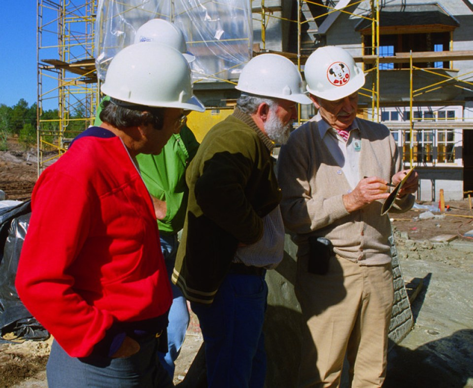 (L to R) Marty Sklar, Collin Campbell, John Hench during construction of Epcot Center. Courtesy Walt Disney Imagineering.