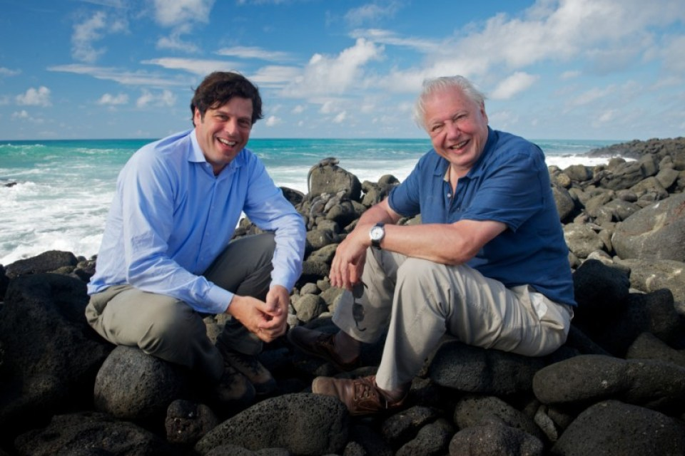 Anthony Geffen (Producer) with David Attenborough (Writer & Narrator) Copyright : Colossus Productions    Credit : Robert Hollingworth
