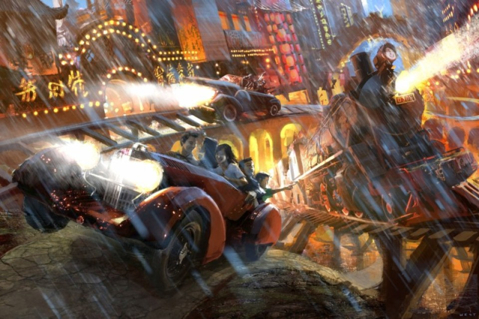 "As pictured in this concept  rendering by Goddard Group, the ""Triad Gangster  Chase"" ride, inspired by Shanghai stories and legends  of the infamous Triad, is located within the new Bund  theme park. The attraction will take guests on a  wild adventure through Shanghai's dark underworld.  Photo:  ©2013 Gary Goddard Entertainment"