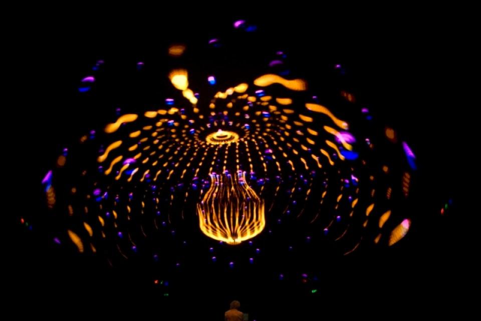 Photo of a Spontaneous Fantasia dome performance by Steve Savage of Sky-Skan.