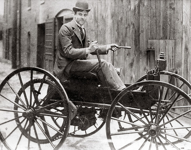 J.D. Perry Lewis built this battery-powered horseless vehicle, the first in St. Louis. Photograph, ca. 1893. His story is just one of the 50 Moments featured in the 250 in 250 exhibit.