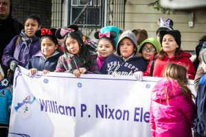 Fourth graders from the local elementary school were on hand to celebrate (and eat birthday cake). They made the banner themselves.