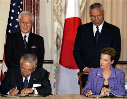 U.S. Commissioner General Lisa Gable signs US Participation Contract for Aichi Expo-2005, with Dr. Toyoda and Secretary of State Colin Powell