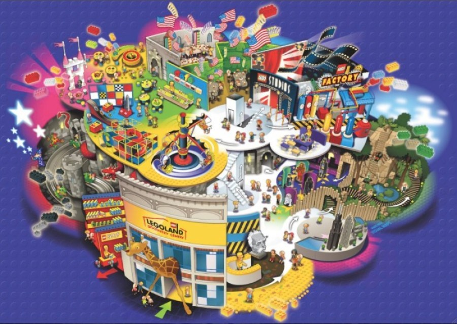 Map of LEGOLAND Discovery Center Atlanta.  Attractions may vary at Istanbul location.