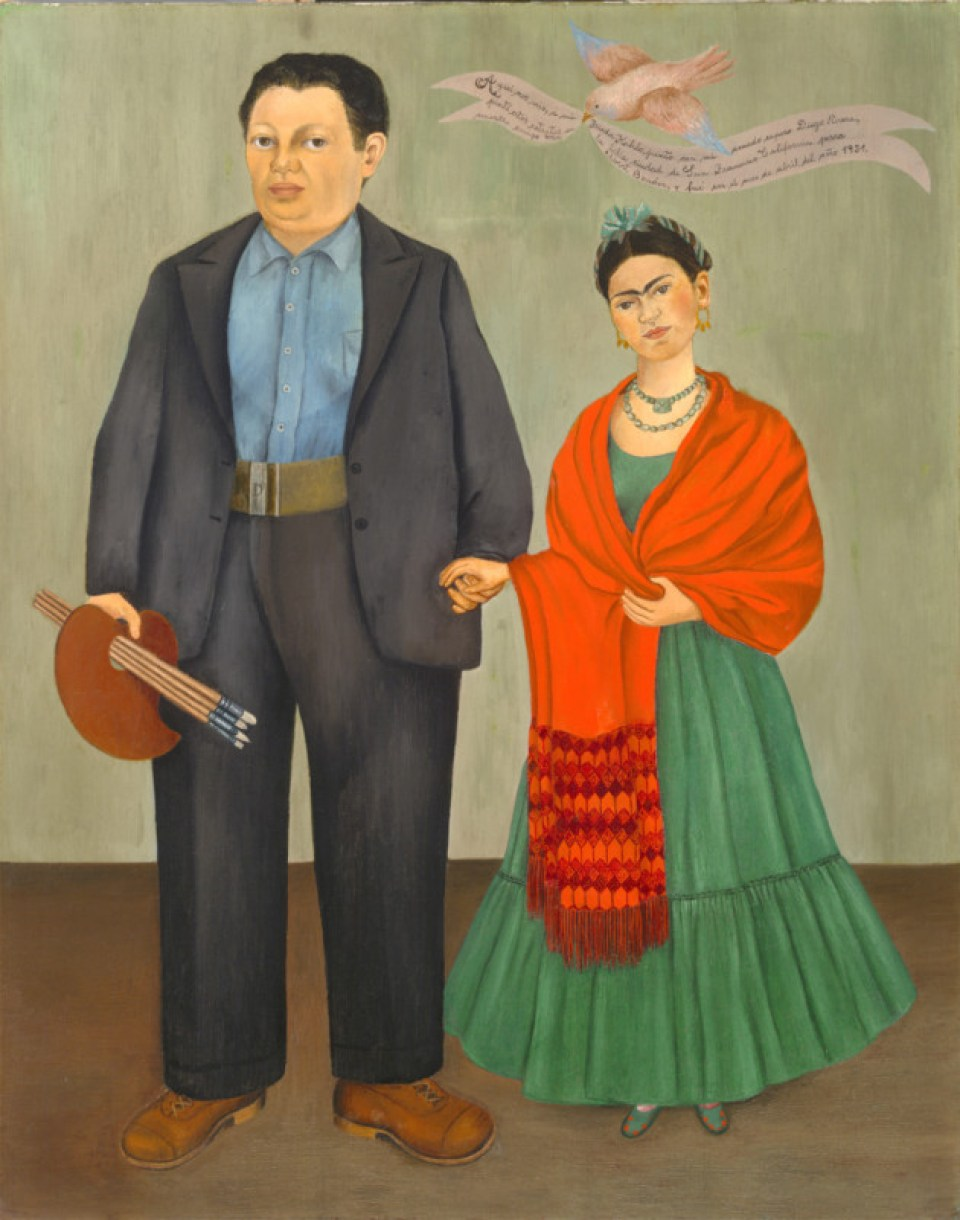 1.Frida (Frieda) Kahlo, Frieda and Diego Rivera, 1931; oil on canvas; 39 3/8 x 31 in. (100.01 x 78.74 cm); Collection SFMOMA, Albert M. Bender Collection, gift of Albert M. Bender; © Banco de Mexico Diego Rivera & Frida Kahlo Museums Trust, Mexico, D.F. / Artists Rights Society (ARS), New York