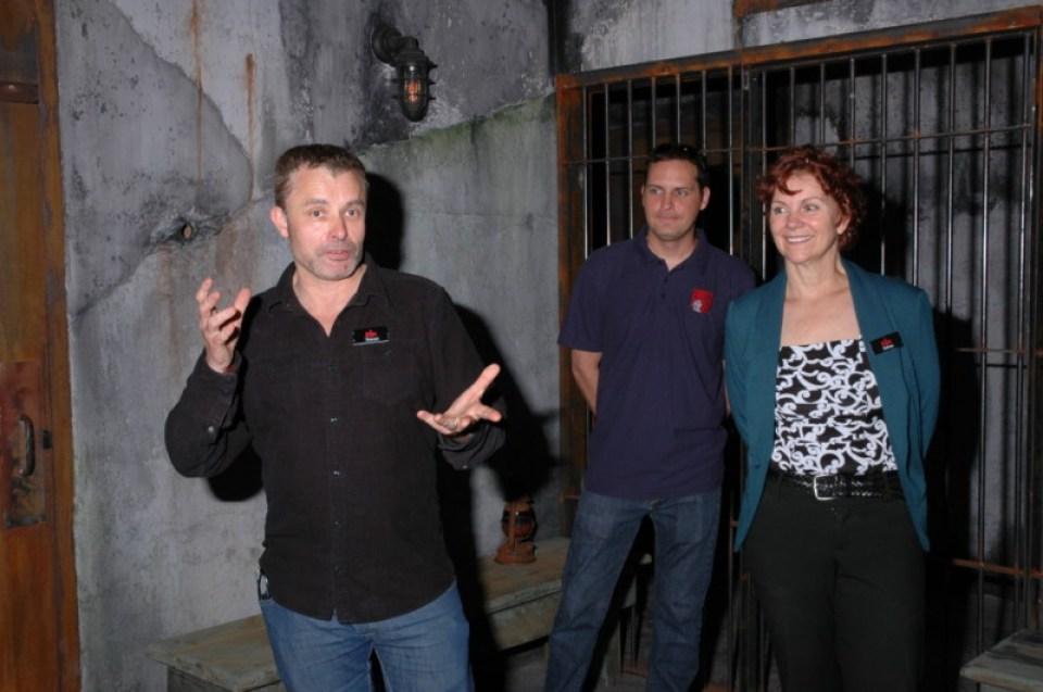 Kieron Smith, Artistic Director (L), Adrea Gibbs, General Manager (R) on Alcatraz set
