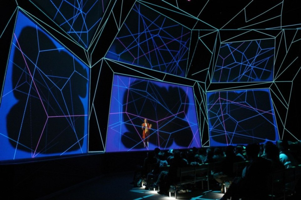 """""""The Franklin Spirit"""" was the main show at the US Pavilion for Aichi Expo 2005. A virtual Benjamin Franklin was featured."""