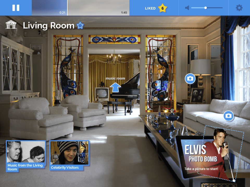 The iPad tour at Graceland contains information and media, as well as an opportunity to include Elvis in a photo the guest takes.