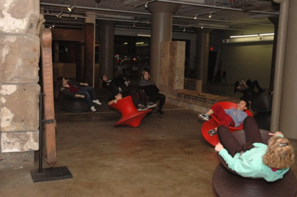 """Spool"" chairs allow guests at the City Museum to relax and roll around."