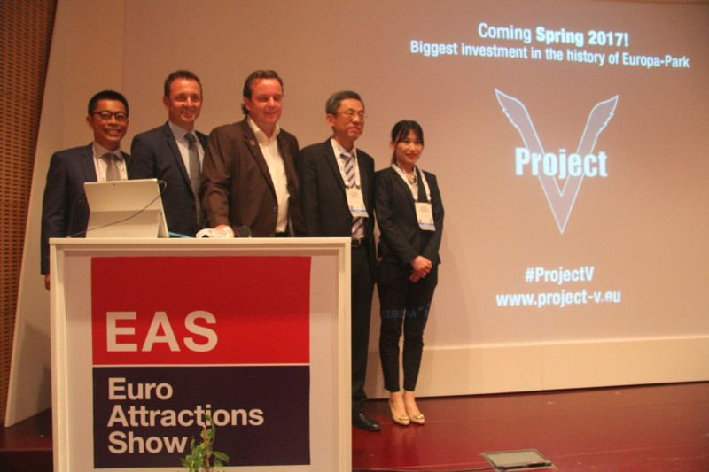Tim Chen (Brogent), Manfred Meier (Kraftwerk), Michael Mack (Europa-Park), C.H. Oyang (Brogent), Ariel Hsieh (Brogent) at their press conference during EAS 2016.