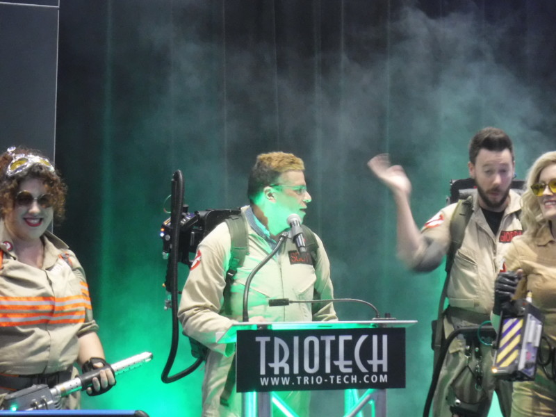 Triotech CEO Ernest Yale and team members announce Heide Park's Ghostbusters 5D attraction.