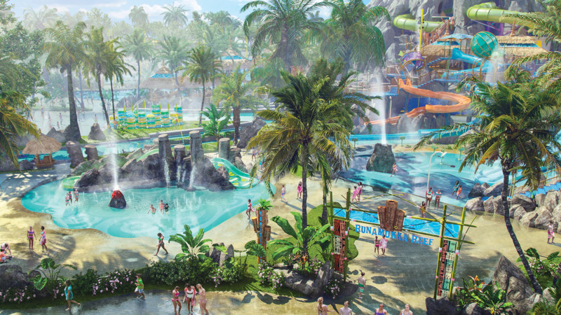 In early summer 2017, a first-of-its-kind water theme park will erupt at Universal Orlando Resort – Universal's Volcano Bay. It will be an innovative experience filled with incredible thrills and perfected relaxation. Located in the River Village within the park is Runamukka Reef - a three-story water playground inspired by the coral reef overflowing with twisting slides, sprinklers and more.