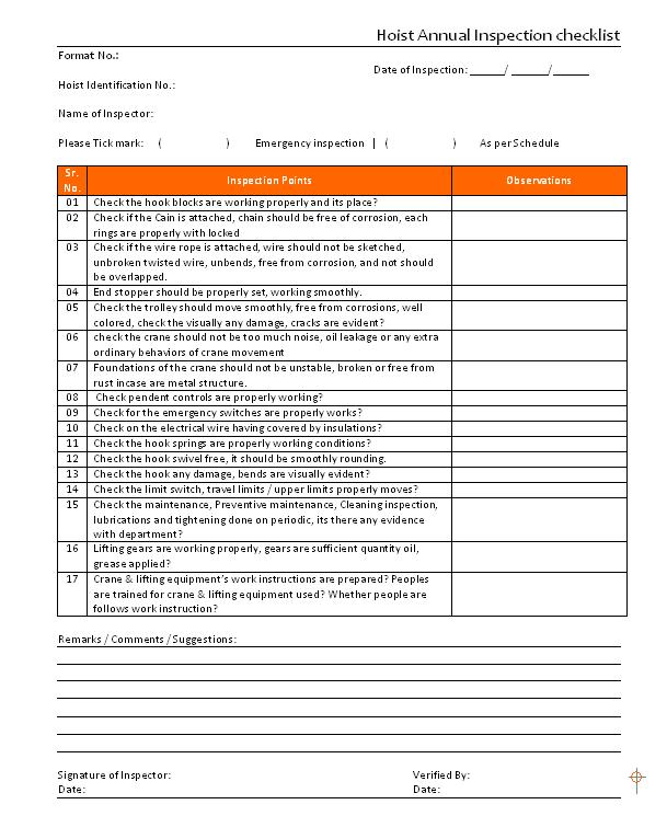 checklist template. ermergency equipment inspection checklist ...