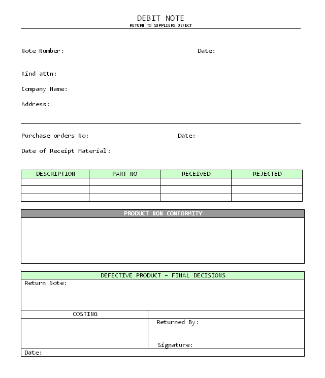 Credit Note Sample Template credit note format credit note – Debit Note Letter