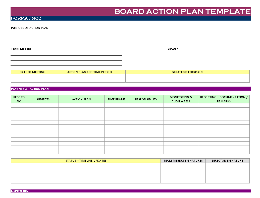 Board Action Plan Template