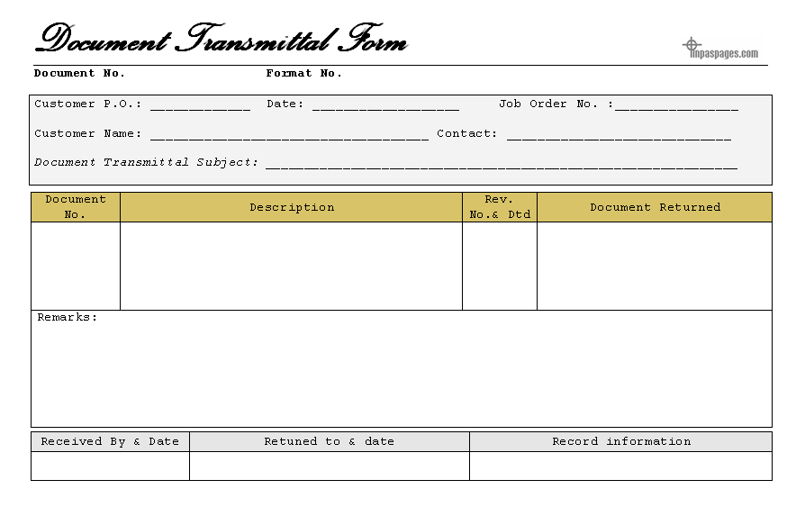 Doc679878 Transmittal Format Form Template 82 Similar Docs – Document Transmittal Template Free