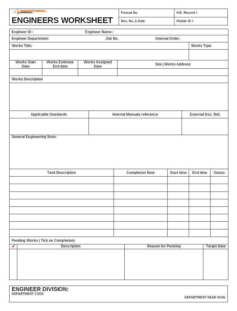 Engineer S Job Documents
