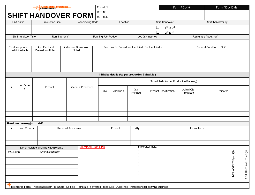 Download Shift Handover Template Production Support
