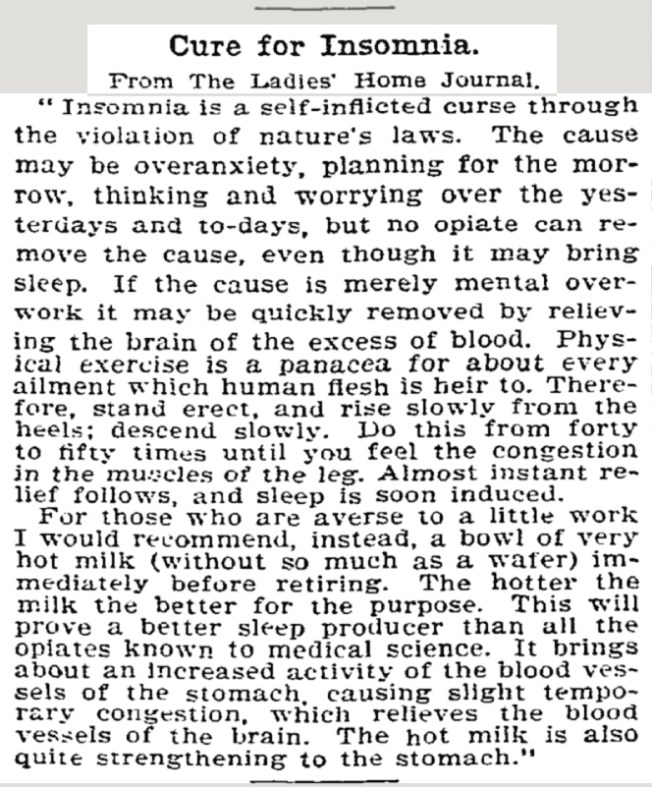 Cure for Insomnia in the New York Times July 23, 1899.