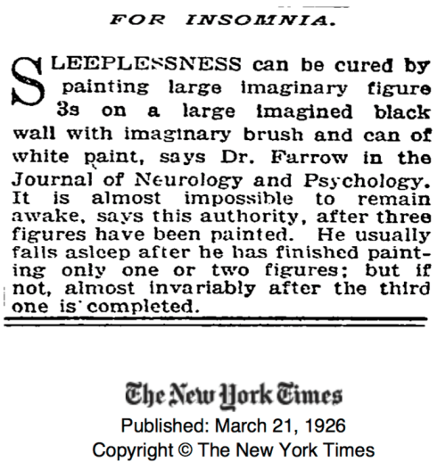 Cure for Insomnia from 1926