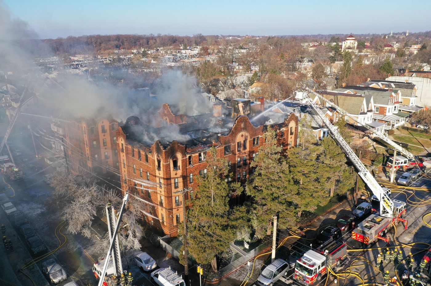 5 Alarm Apartment Building Fire Displaces Dozens In West Phillys Overbrook Section
