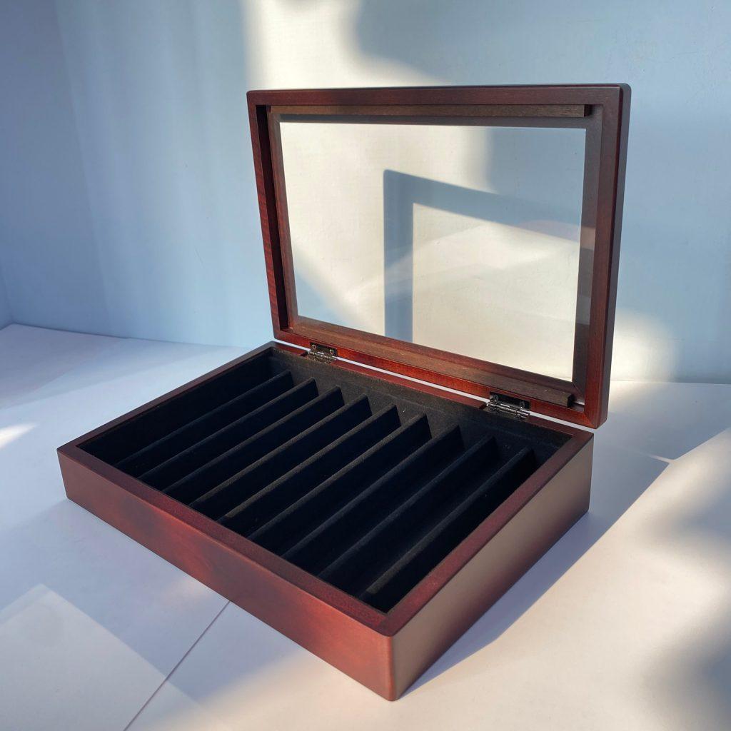 玻璃蓋鋼筆收納盒