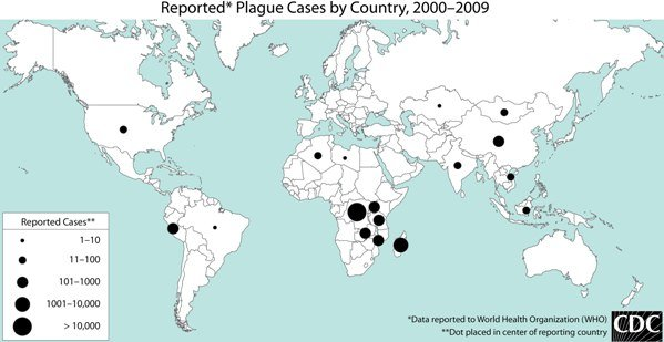 Updated Plague Map 2010 with Country lines