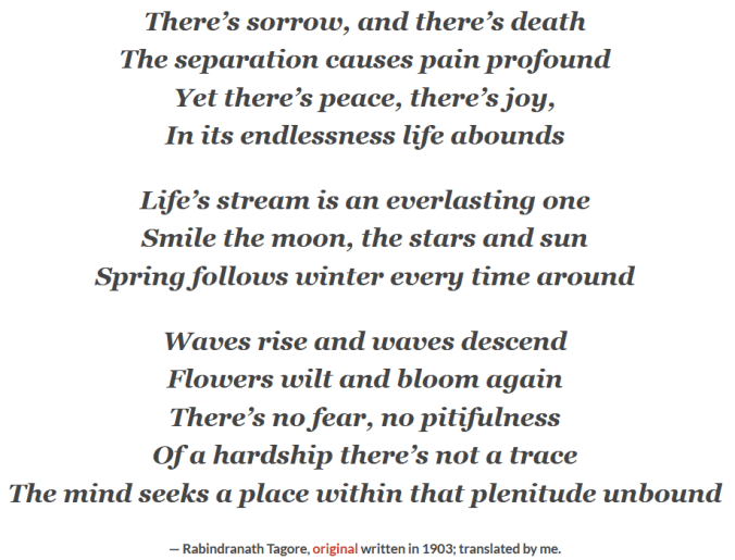 Poem on Sorrow, Death, and Joy by Rabindranath Tagore