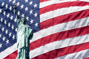 Flag and Statue of Liberty