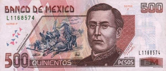 Billete Familia C denominación 500 nuevos pesos mexicanos, uno de los únicos billetes del mundo diseñados y grabados por la misma persona