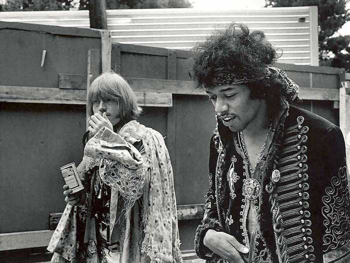 Jimi Hendrix of the Experience and Brian Jones of the Rolling Stones at the Monterey Pop Festival in June of 1967