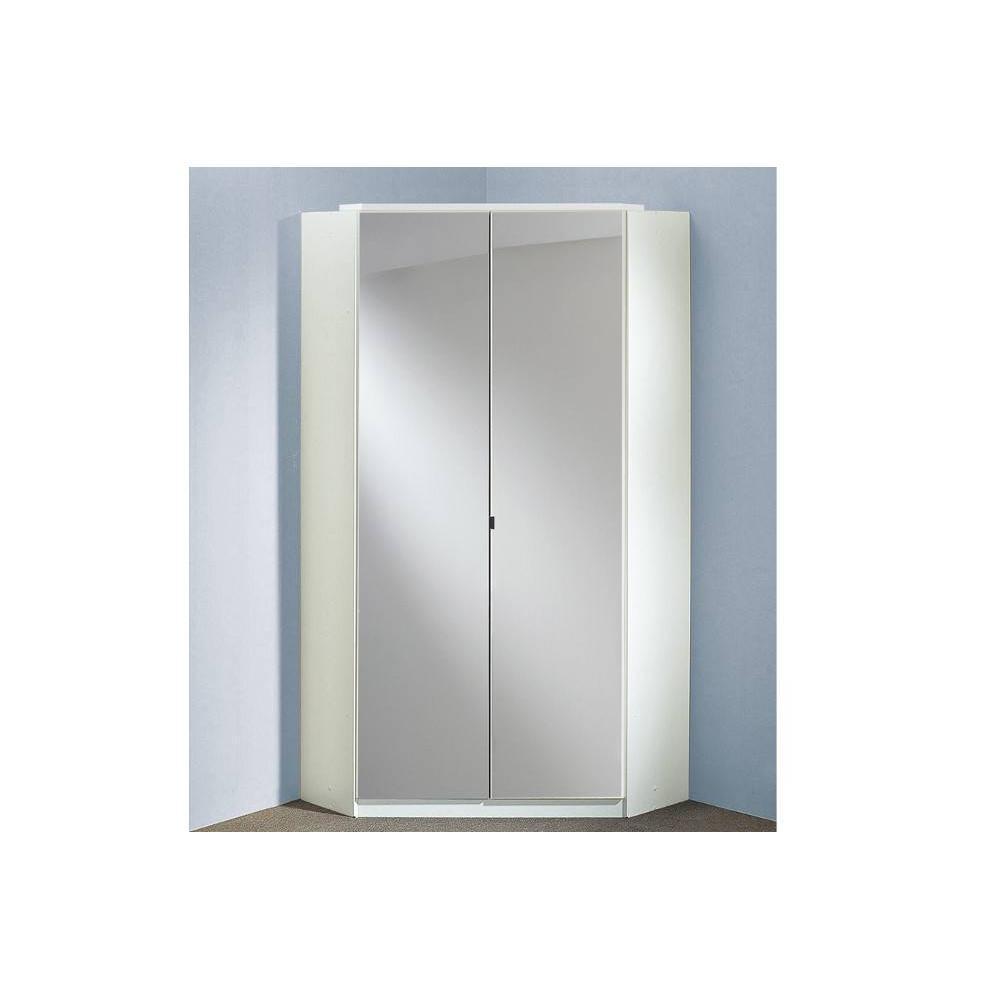 armoire d angle cooper 2 portes miroirs 95 95 coloris laque blanc