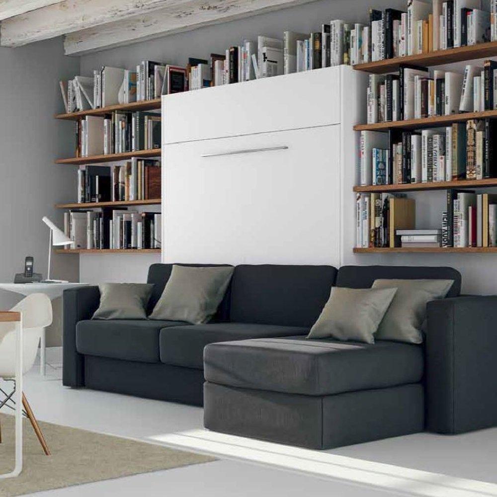 armoire lit a ouverture assistee traccia canape integre et meridienne droite couchage 140 200cm