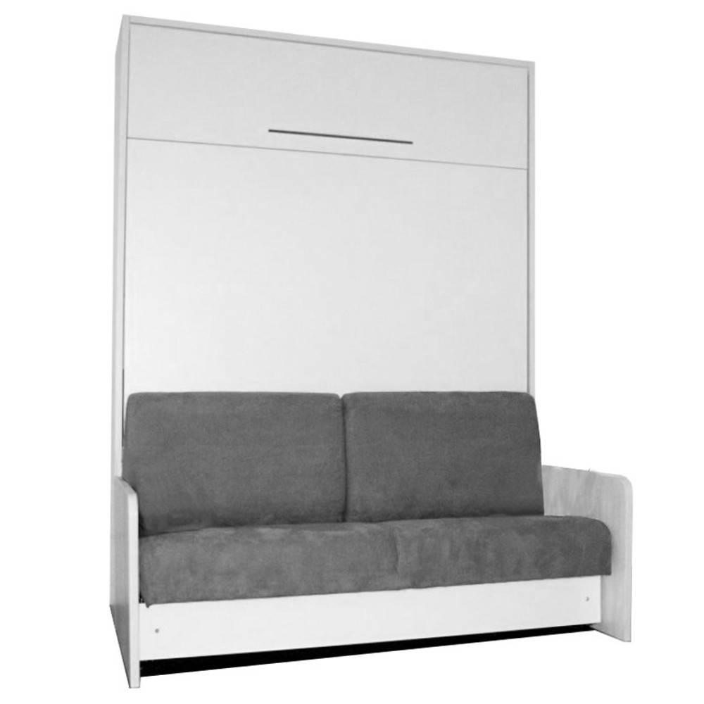 space sofa fast armoire lit escamotable 140cm blanche avec canape microfibre grise