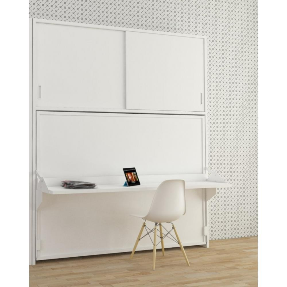 armoire lit transversale hades avec portes coulissantes couchage 140 190cm