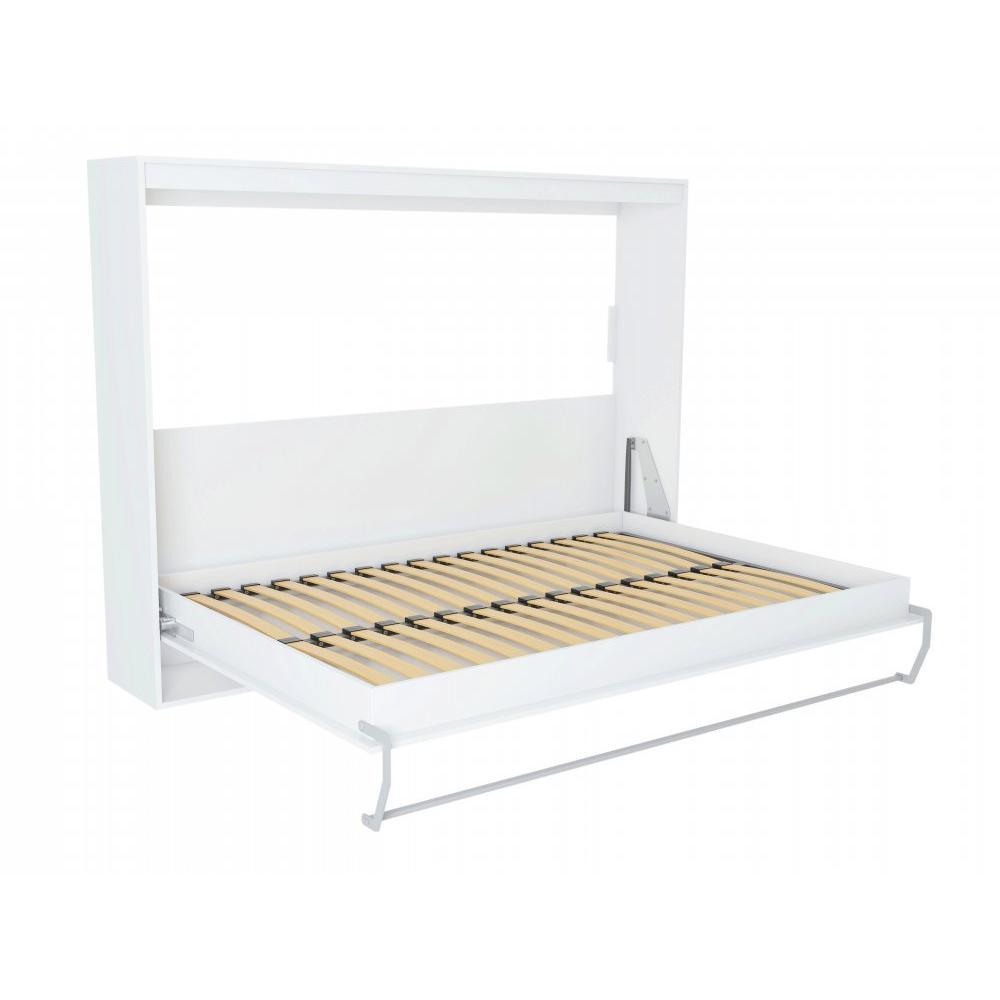 armoire lit horizontale escamotable strada v2 blanc mat couchage 140 200 cm