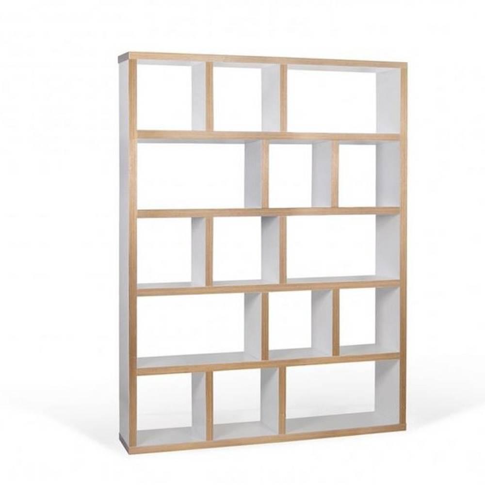 berlin bibliotheque etagere blanche mate et bois 15 casiers