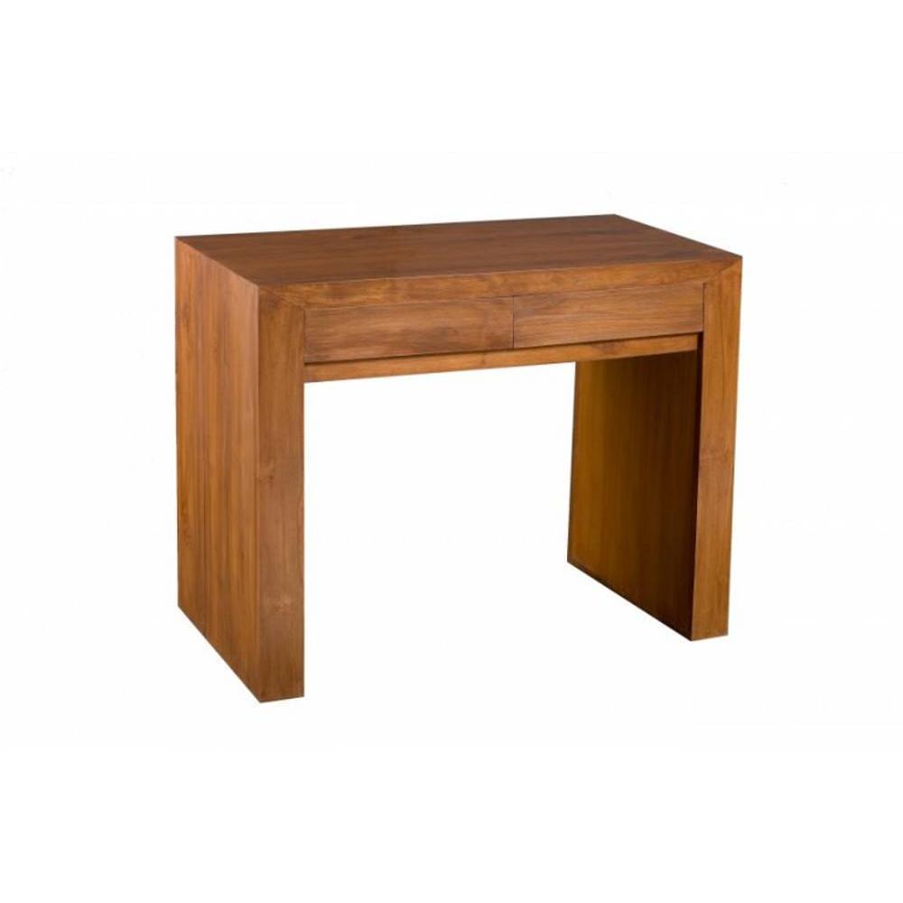bureau 2 tiroirs en teck massif style colonial
