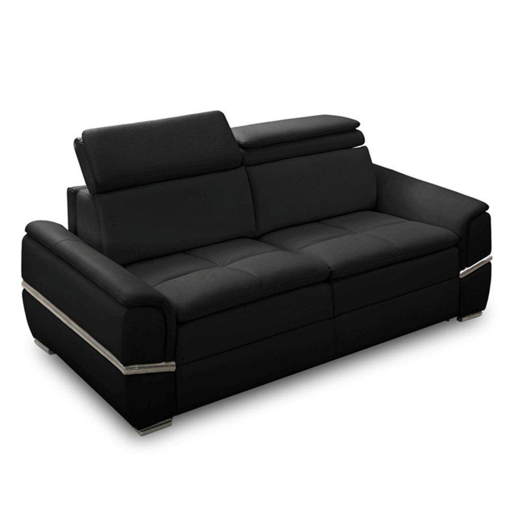 canape lit saltillo convertible 140cm rapido matelas 15cm cuir vachette noir