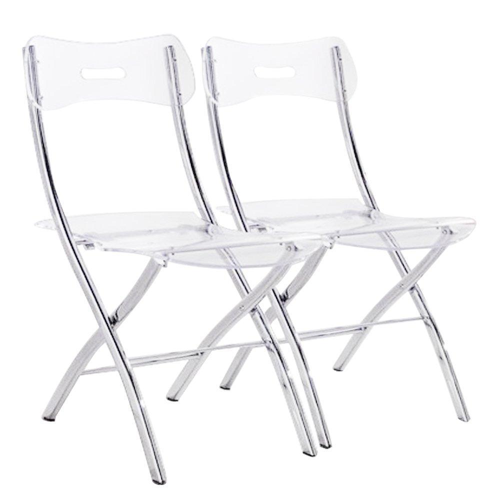 lot de 2 chaises pliantes widow en polycarbonate transparent