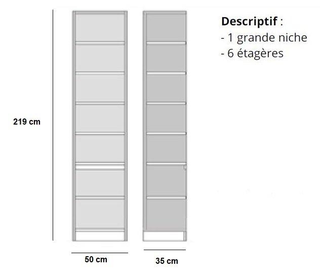 colonne bibliotheque 6 etageres finition chaªne naturel largeur 50 cm