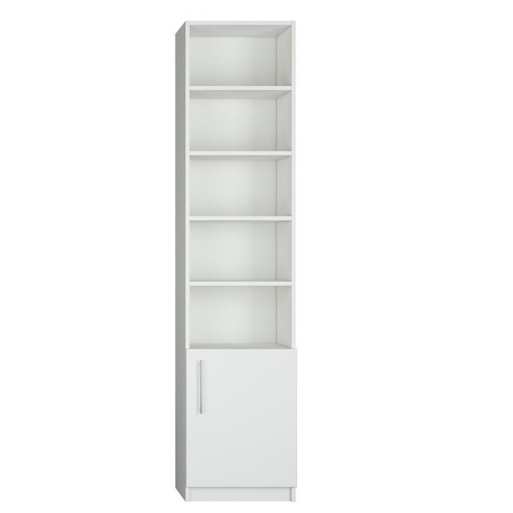 colonne de rangement bibliotheque 1 porte basse blanc mat 50 x 50 cm profondeur ht 219 cm