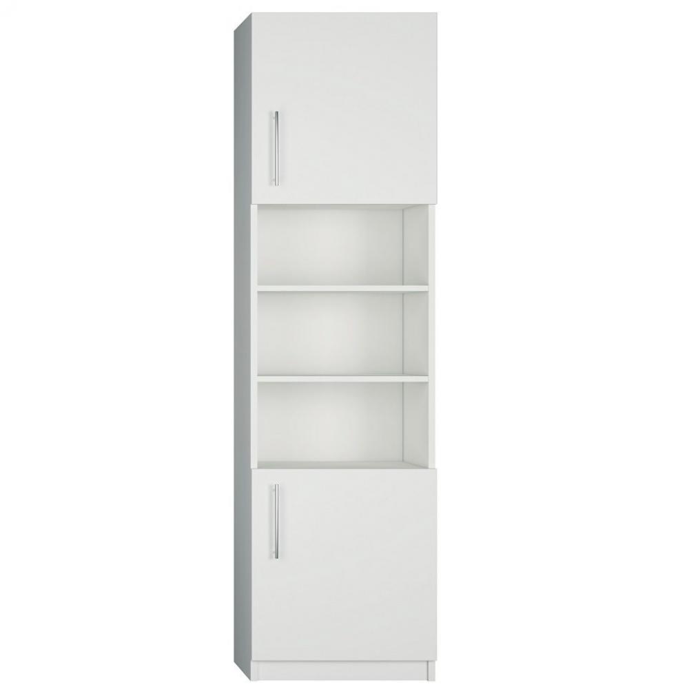 colonne de rangement porte haute et basse bibliotheque centrale coloris blanc mat largeur 50 cm