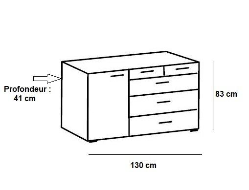commode burnaby 4 tiroirs graphite 1 porte chene artisan l 130 cm