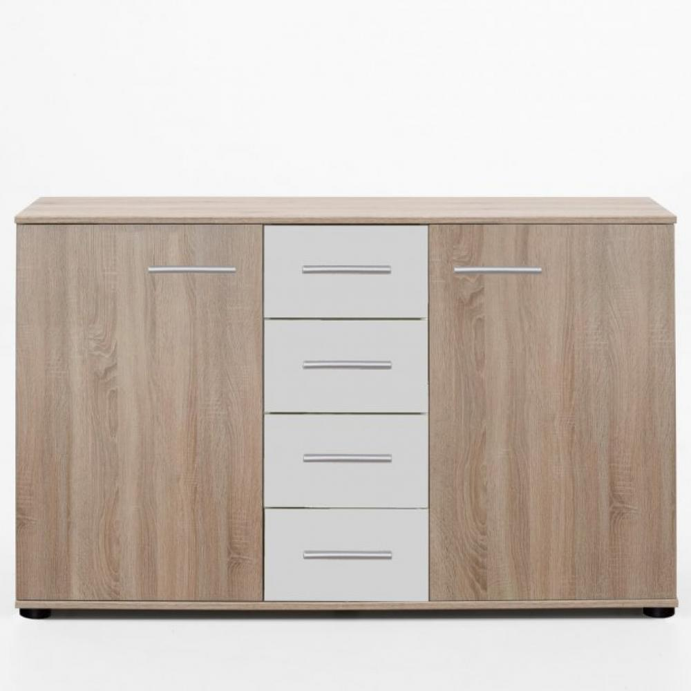 commode buffet eva 4 tiroirs blanc mat 2 portes chene clair