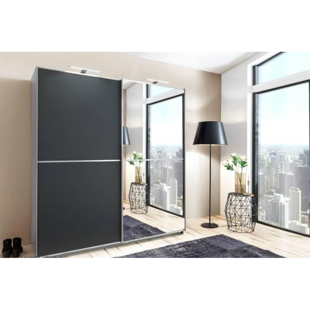 dressing coulissant hendrix 1 porte gris graphite mat 1 porte miroir l 179 cm
