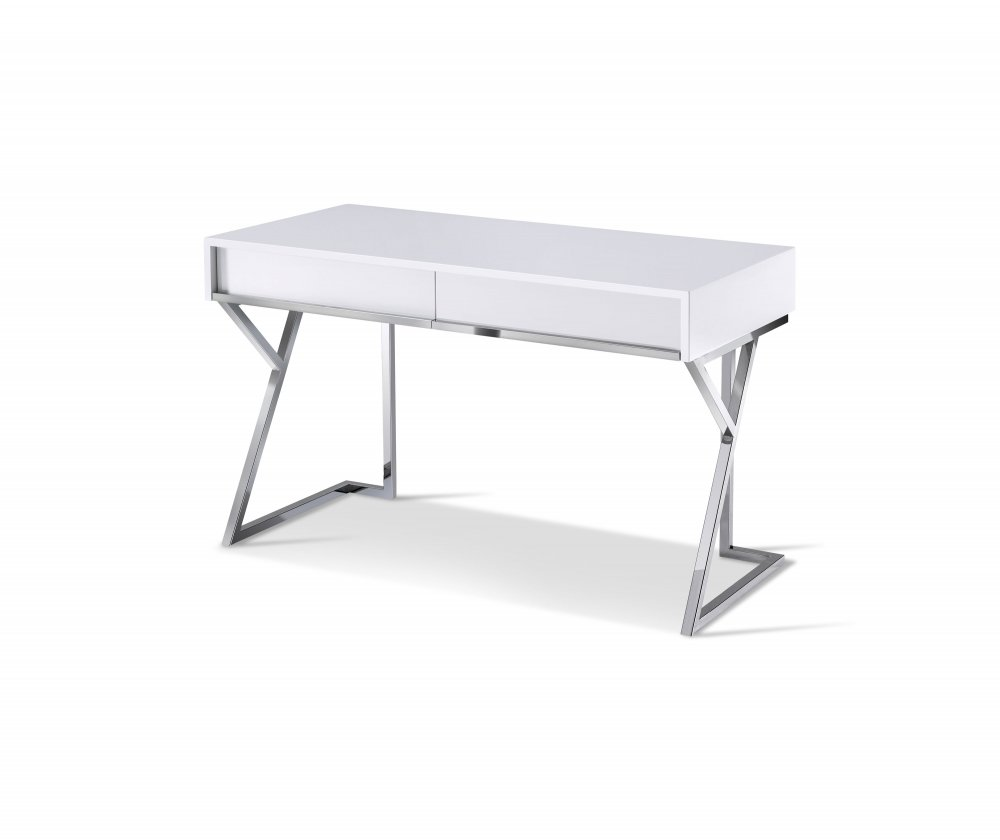 bureau epsylon design blanc laque pietement chrome 2 tiroirs