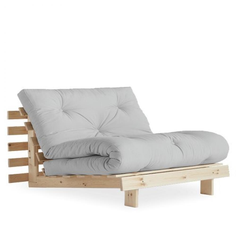 fauteuil convertible futon racines pin naturel coloris gris clair couchage 90 x 200 cm