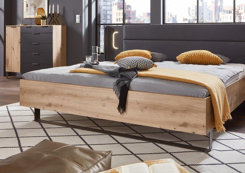 lit chevets design vick 160 x 200 cm chene artisan tete cuir synthetique